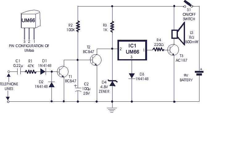 soft musical telephone ringer circuit